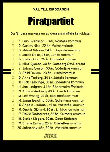 Bulletin de vote avec liste des candidats permettant le vote préférentiel